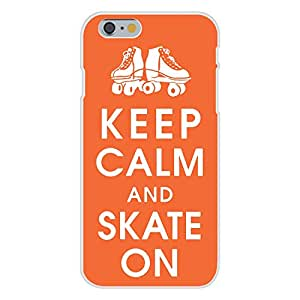 Apple iPhone 6 Custom Case White Plastic Snap On - Keep Calm and Skate On w/ Roller Skates