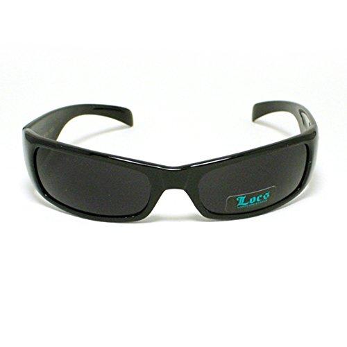 Locs All Black Cholo Biker Extra Narrow Lens Rectangular - Locs Sunglasses Mens Cholo Biker