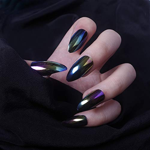 Stiletto Nails, 24 Pcs Full Coverage Holographic Chrome Powder Fake Nails Manicure Tips for Nail Art for $<!--$7.88-->