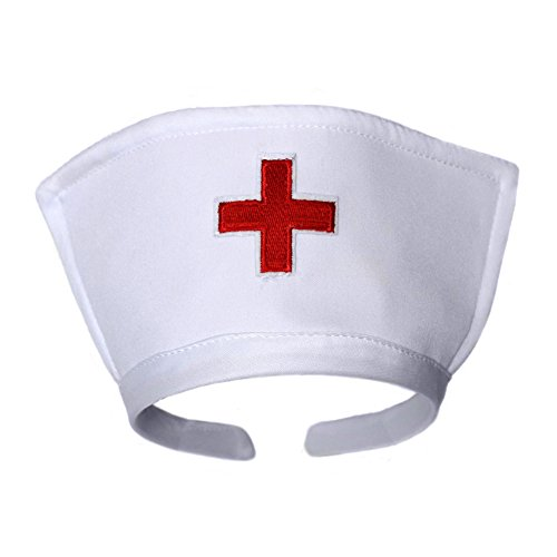 [White Nurse Hat Headband with Red Cross ~ Halloween Costume Accessory] (Red Halloween Kids Costumes)