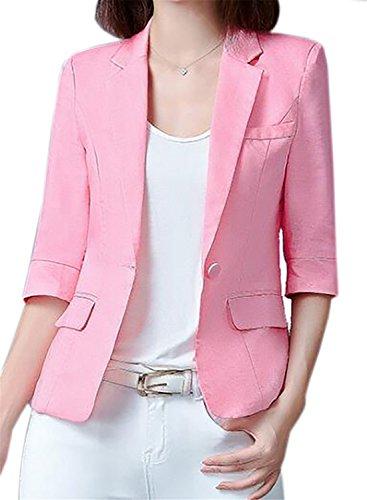 KLJR Womens 3/4 Sleeve Office Bodycon Linen Blazer Jacket Coat Suit Outerwear Pink US - Linen Women Blazer