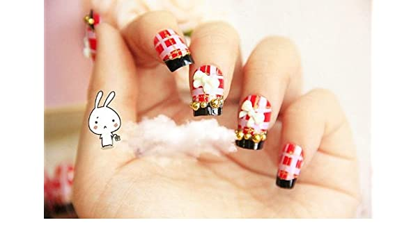 Amazon Fashion Press On Nail Tips 24 Pcs Pink Red Plaid With