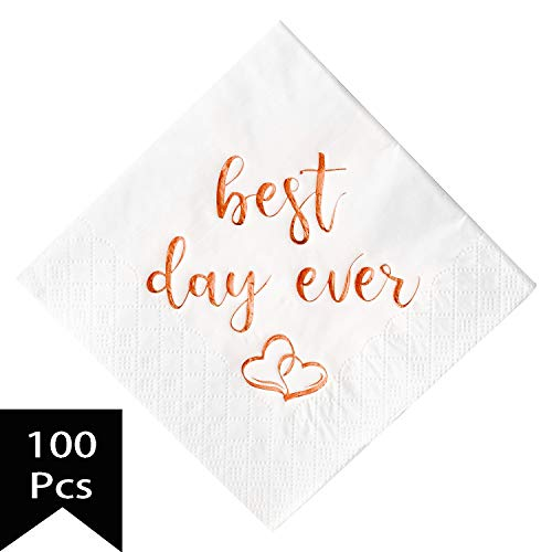 Crisky Wedding Cocktail Napkins Rose Gold Best Day Ever, Bridal Shower and Engagement Party Decorations 100 Pcs, 3-ply