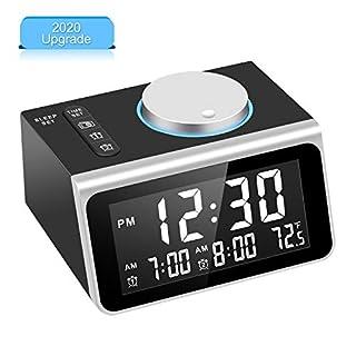 Dekala Digital Alarm Clock Radio, Dual Alarm with Snooze Function, Temperature Display, 7 Alarm Sounds, 2 USB Charging Ports, FM Radio Clock w/Battery Backup for Bedrooms, Office, Desk