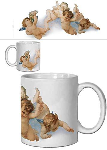 Flying Cherub - 1art1 Set: Angels, Flying Cherubs Photo Coffee Mug (4x3 inches) and 1x Surprise Sticker