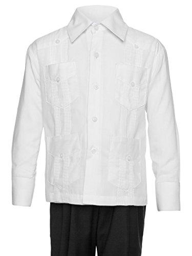 Gentlemens Collection Guayabera Shirt for Boys - Linen Look Cuban Shirt Great for Beach Wedding