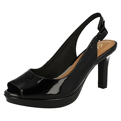 Clarks Mayra Blossom Womens Wide Slingback Shoes black patent