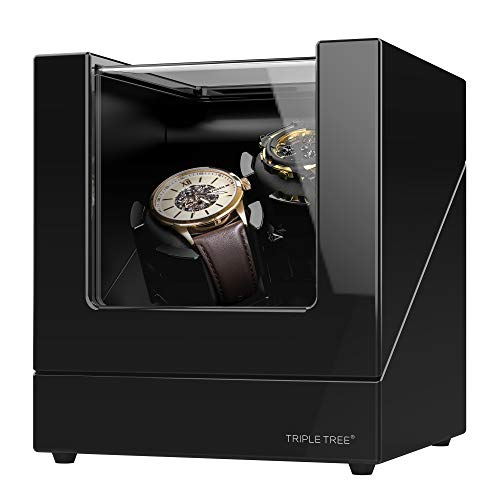 TRIPLE TREE Double Watch Winder for Automatic Watches, Wood Shell Piano Paint Exterior and Extremely Silent Motor, with Soft Flexible Watch Pillows, Suitable for Ladies and Men's Wrist ()