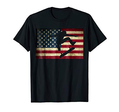 Skateboarding T Shirt Skater Skate Board American Flag Tee