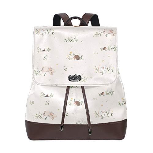 Vår- och ängdjurmönster ryggsäck handväska mode PU-läder ryggsäck ledig ryggsäck för kvinnor