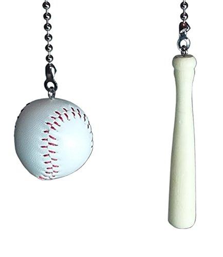 Deluxe Baseball & Bat Fan Pull Set by Wooden Androyd Studio (Baseball & Bat) (Baseball Ceiling Fan Pull)