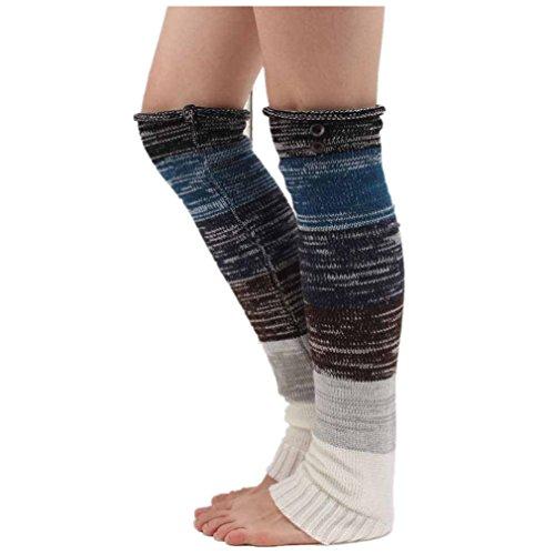 Winhurn 2016 Women Crochet Knitted Stocking Leg Warm Boot Cover Button Trim Socks (Black)