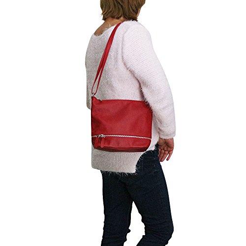 hombre Chapeau hombro rojo Bolso Piel rojo para de al tendance rH0HFf