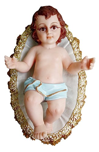 Baby Jesus with Glassed Eyes and eyelash lying in bed/crib Figurine Nativity Statue Christmas Figurine Niño Dios Nativity (12 Inch, Blue)
