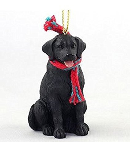 (Labrador Retriever Black with Scarf Christmas Ornament Large 3 inch version Dog)