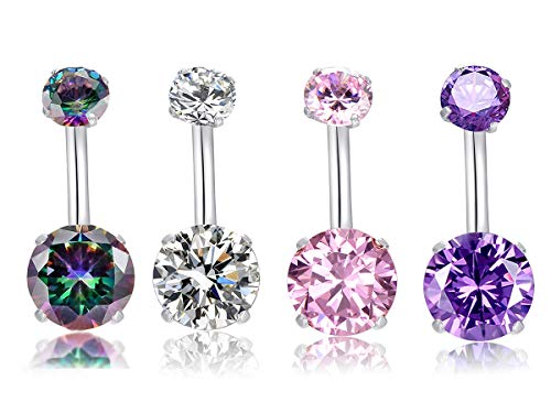 MO SI YI 14G Surgical Steel Belly Button Rings Round Cubic Zirconia Navel Barbell Stud Sexy Body Piercing ((4 Pcs Clear+Pink+Black Colorful+Purple))