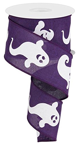 Halloween Ghost Purple White Wired Ribbon: White & Purple 2.5