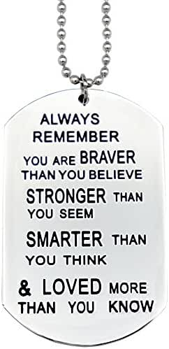 O.RIYA Always Remember You Are Braver Than You Believe Jewelry Necklace / Keyring