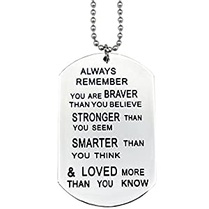 O.RIYA Always Remember You are Braver Than You Believe Jewelry Necklace/Keyring