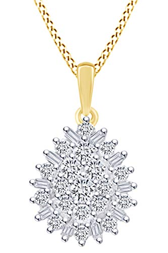 1/2 Carat Baguette & Round White Natural Diamond Cluster Pendant Necklace In 10k Solid Yellow Gold (0.50 Cttw)