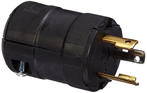 Hubbell HBL2611VBK Locking Valise Plug, 30 amp, 125V, L5-30P, Black