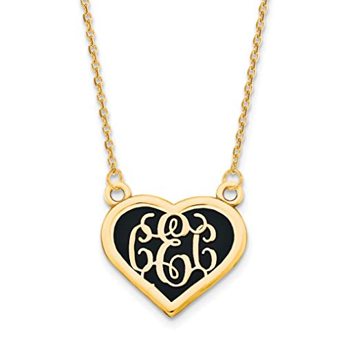 925 Sterling Silver Gold Plated Sandblast Background Heart Monogram Personalized Pendant
