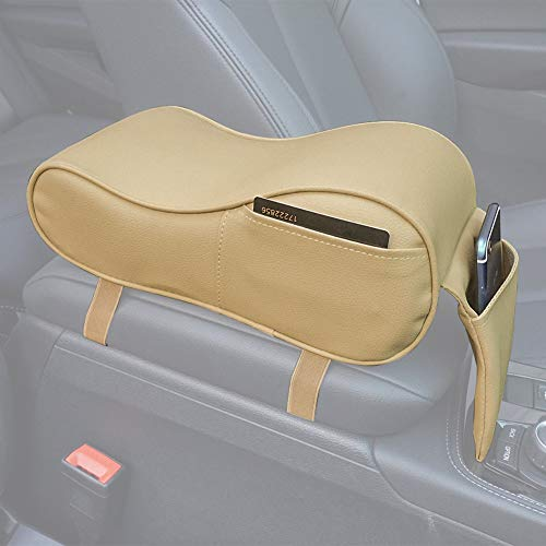 e Armrest Pad Soft Memory Foam Pu Leather with Storage Pockets Seat Cushion (Beige) ()