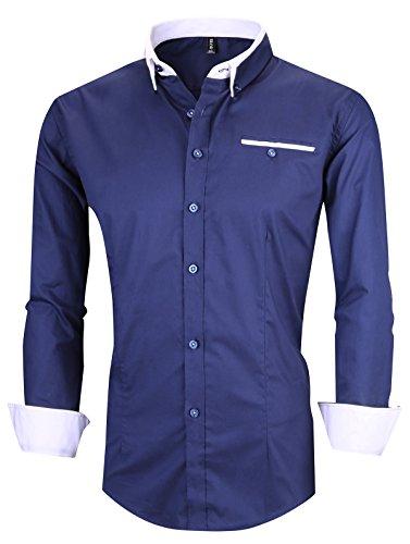 (XTAPAN Men's Long Sleeve Casual Slim Fit Inner Contrast Button Down Dress Shirt US S=Asian 2XL Dark Blue 1306)