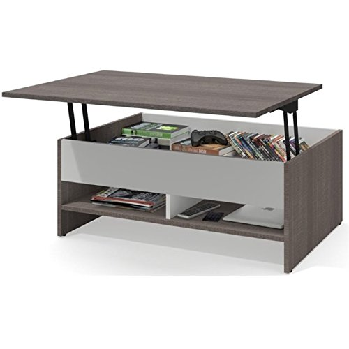 Pemberly Row Lift Top Coffee Table in Bark Gray and White