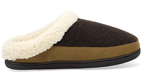 Dream Pairs Mens Aidan Muli In Pelliccia Sintetica Soffici Pantofole Morbide Marrone