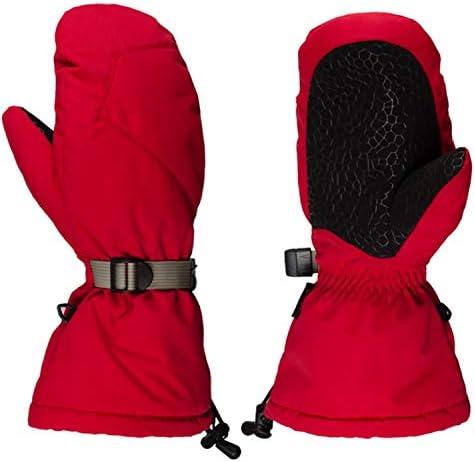 手袋 日常 実用 男女兼用の冬の暖かい熱手袋屋外のスキー防水スポーツの手袋14インチ (Color : Red, Size : L)