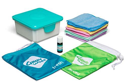 🥇 Cheeky Toallitas Manos y caras Kit de tela lavable toallitas húmedas