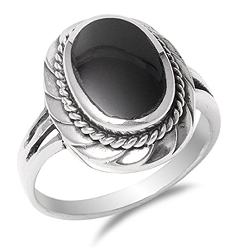 Bali Design Simulated Black Onyx Fashion Ring New .925 Sterling Silver Band Size 7