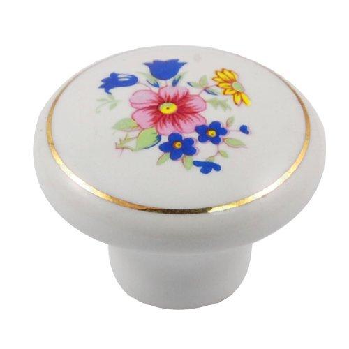 - EbuyChX Ceramic Flower Naka-Print Knob Muwebles Pangasiwaan White Blue Pink
