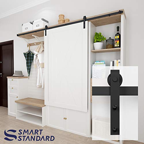 (8ft Cabinet Barn Door Hardware Kit- Mini Sliding Door Hardware - for Cabinet TV Stand Wardrobe - Simple and Easy to Install - Fit 48