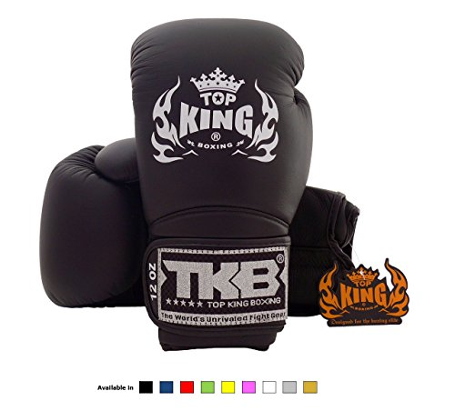 Top King Muay Thai Boxing Gloves Size: 8 10 12 14 16 oz Color: Black White Red Green Blue Pink Yellow Gold Silver. Design: Air, Super Star, Empower Creativity, Ultimate. Training Sparring Boxing gloves for Muay Thai MMA K1 (Air - Solid Black, 14 oz)