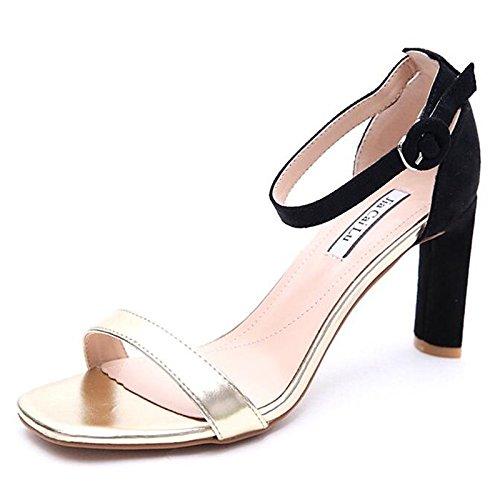 Estate Beige pompa pu della ZHZNVX tacco sandali Comfort base donna Scarpe Primavera White Chunky per Casual Oro Bianco xqYqawI