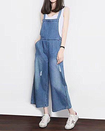 Pantaloni Quge Alta Buco Rompers Donna Strappato Jeans In Lunghi Salopette Azzurro Chiaro Vita OOZwqv