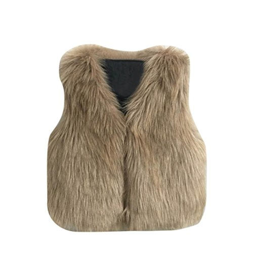 Tenworld Toddler Baby Girl Outerwear Winter Warm Faux Fur Vest Waistcoat (7T, Khaki) by Tenworld