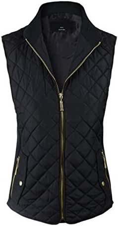 makeitmint Women's Basic Solid Quilted Padding Jacket Vest w/ Pockets [S-3XL]