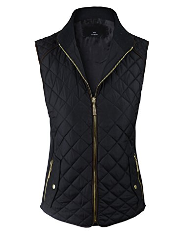 makeitmint Women's Basic Solid Quilted Padding Jacket Vest w/ Pockets Small YJV0002_Black (Quilted Women Vest)