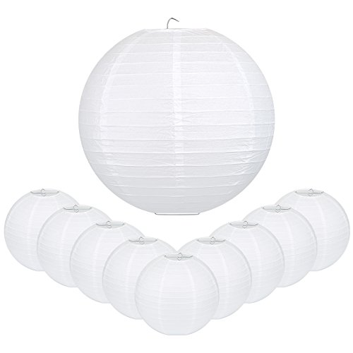 LIHAO 16 Inch White Round Paper Lanterns (10 Pack) -
