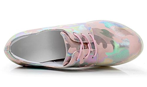 EaseMax Womens Unique Camouflage High Wedge Heels Lace Up Platform Sneakers Pink mRn7OiSF