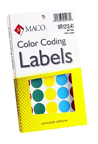 MACO Assorted Primary Round Color Coding Labels, 3/4 Inches in Diameter, 1000 Per Box - Blank Canvas A1