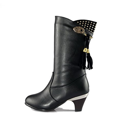 AmoonyFashion Womens Round Closed Toe Kitten Heels PU Solid Boots with Tassels and Metal Black EfB3rL