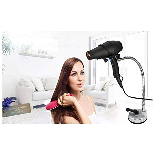 Desktop Hair Dryer Stand Holder, Hands Free Stainless 360 Degrees Rotation Hairdryer Holder with Suction Cup, Silver (Desktop Style)
