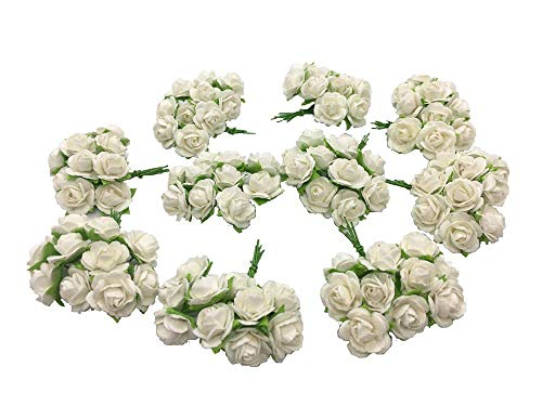 Paper Flower Embellishments (100 Pure White Mulberry Roses 10 - 15 mm. Paper Flowers Scrapbooking Embellishment)