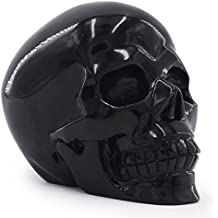 Tianmai 2.48 lb Natural Obsidian Carved Realistic Crystal Skull Sculpture, Healing Energy Reiki Gemstone Collectible Figurine