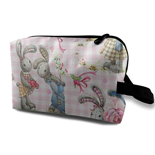 Receive Bag Custom Cute Bunny Floral Plaid Rabbit Makeup Pouch Waterproof Toiletries Organizer Bag For Travel Packing Bag With Zipper -