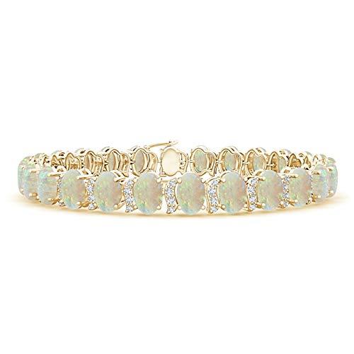 Oval Opal Tennis Bracelet with Swirl Diamond Links in 14K Yellow Gold (6x4mm Opal)